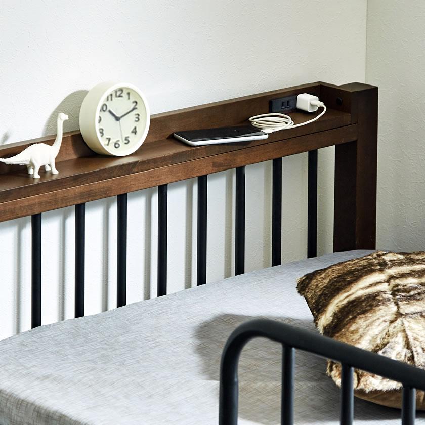 エディス ロフトベッド シングル アイアンベッド スチール×天然木・異素材コンビベッド ハイタイプ はしご