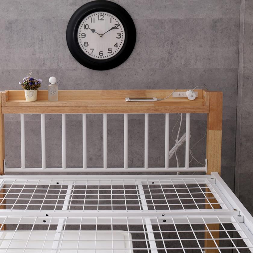 Edith アイアンベッド シングル 棚コンセント2口付 スチール×木・異素材コンビベッド ヴィンテージ調  ベッドフレーム