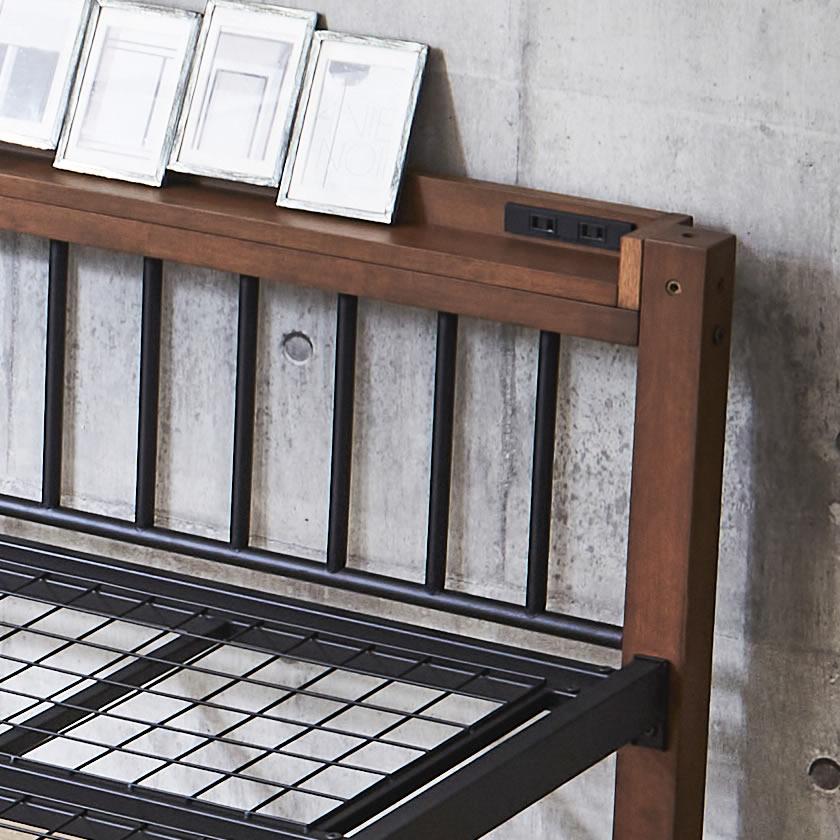 Edith 収納ベッド シングルベッド とキャスターボード(2個組) がセットの収納付きシングルベッド 棚コンセント付きアイアンベッド ベッド下収納 ストレージボード