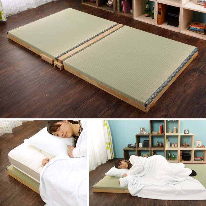 折りたたみ畳ベッド 畳マット シングル 折り畳みスプリング付 日本製