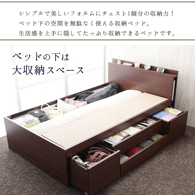 ベッドの下には大収納スペースがあります
