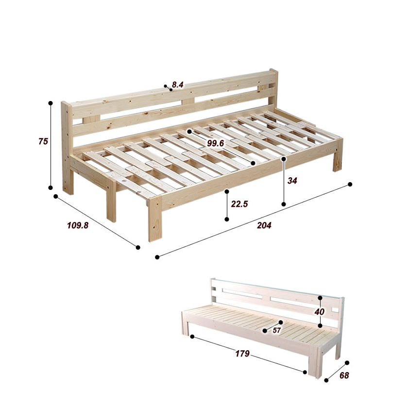 伸長式ソファベッド 2way 木製伸長式ベッド シングル 天然木 すのこベッド フレームスライドで簡単伸張 パイン材 伸縮式木製ベッド