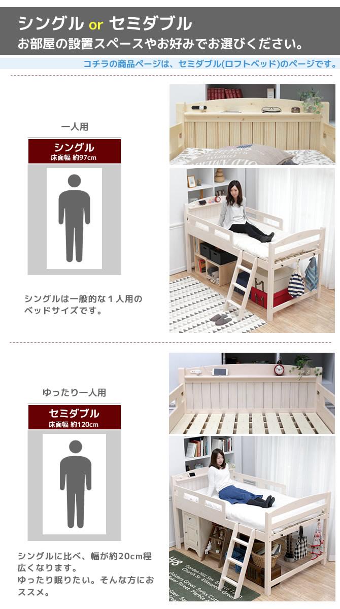 木製ロフトベッド セミダブル 棚コンセント2口付 ベッド下空間を有効活用 すのこベッド ベッド下収納スペース はしご ロータイプ