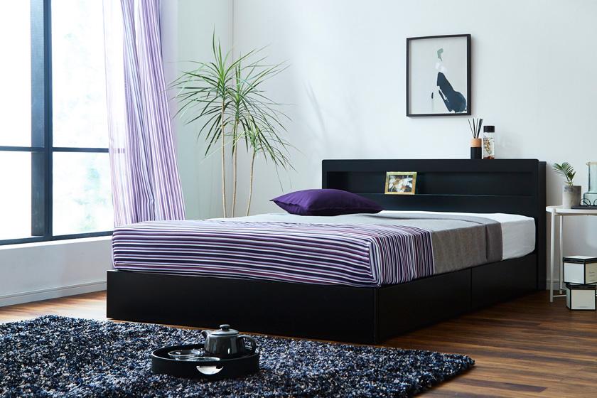 収納ベッド レスター ダブル 棚付き コンセント LED照明付き マットレスセットLESTER ベッド IFM-002 フランスベッド