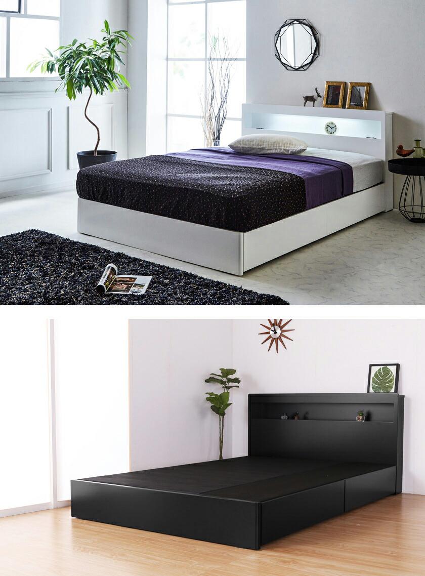 収納ベッド レスター シングル 棚付き コンセント LED照明付き マットレスセットLESTER 引き出し収納ベッド プレミアムハード