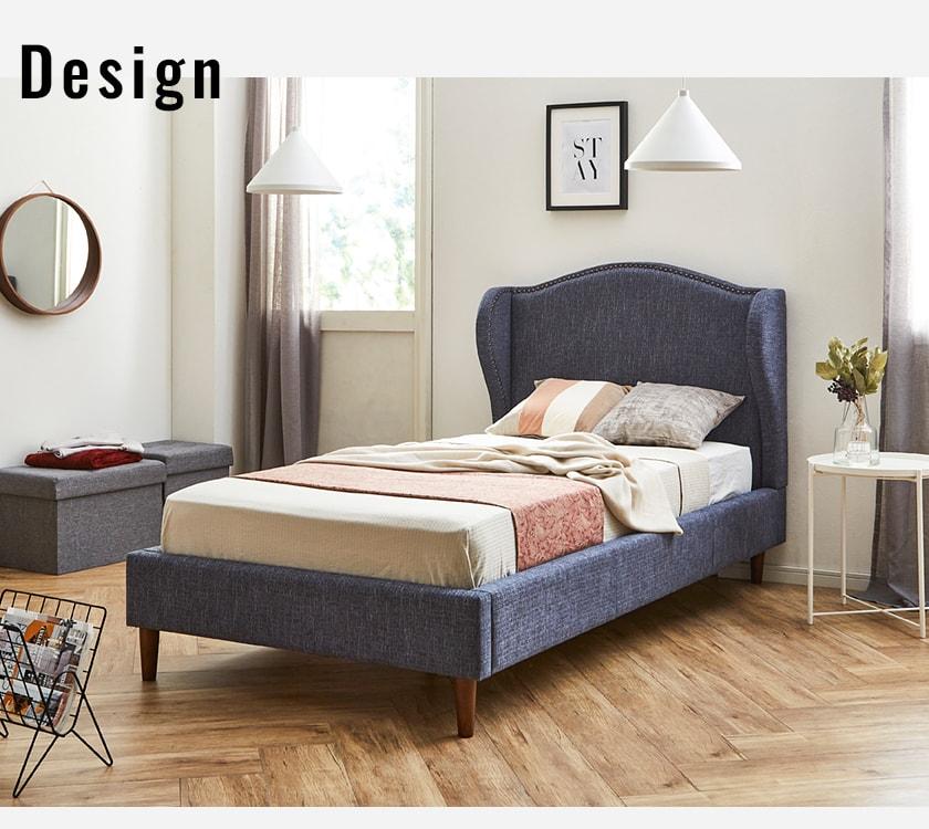 ヨーロッパ風デザインのファブリックベッド