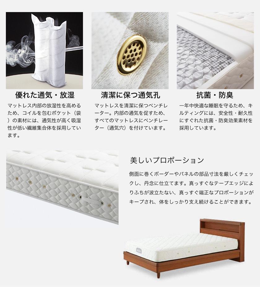 【ポイント10倍】日本ベッド マットレス ビーズポケットベーシック シングルロング 長さ205cm ふつう(やや硬め) ポケットコイルマットレス 国産