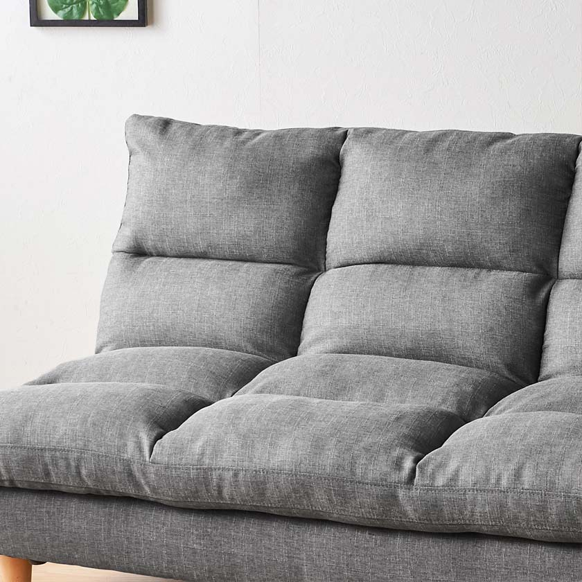 ソファベッド 2Pソファ グレー ソファーベッド 幅185 ソファー 3人掛け シリコンフィル入り リクライニング ソファベッド ベッド