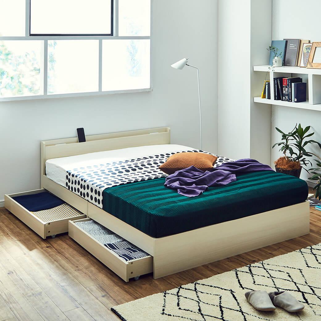 スリムで省スペースな収納ベッド ティーナ2