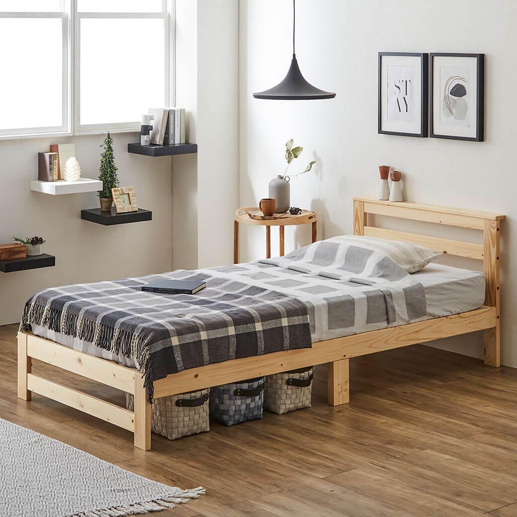 木製棚付きすのこベッド&マットレス