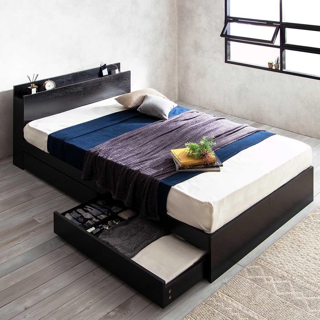 USBコンセント付き 棚付き収納ベッド