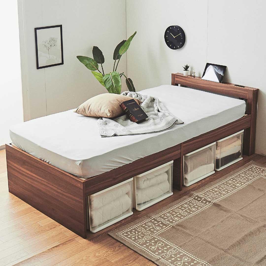 棚付きすのこベッド&マットレス