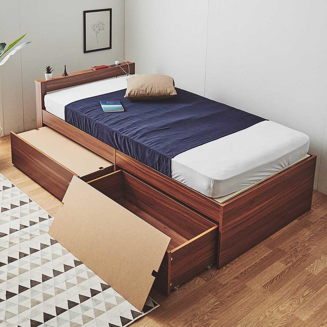 大容量引き出し付きベッド&マットレス