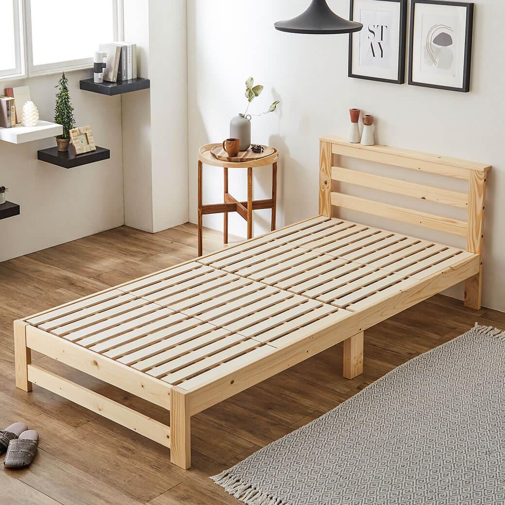 木製棚付きすのこベッド フレームのみ