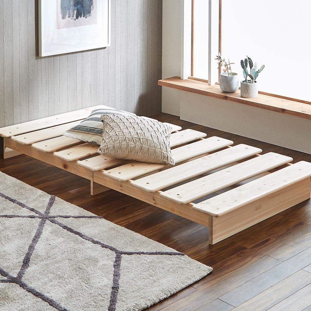 布団・マットレス両方使える檜すのこベッド