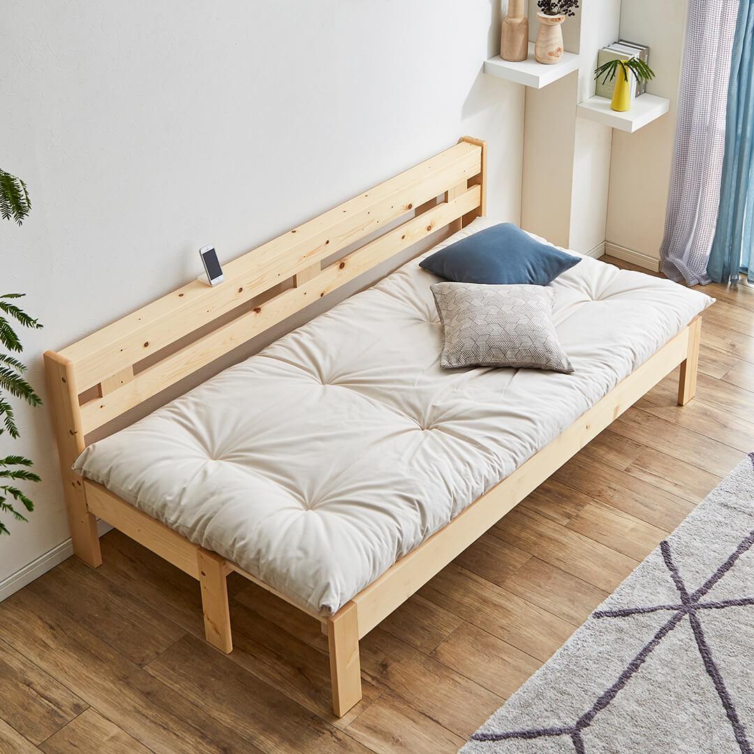 スライドで簡単伸張!天然木伸長式ソファベッド