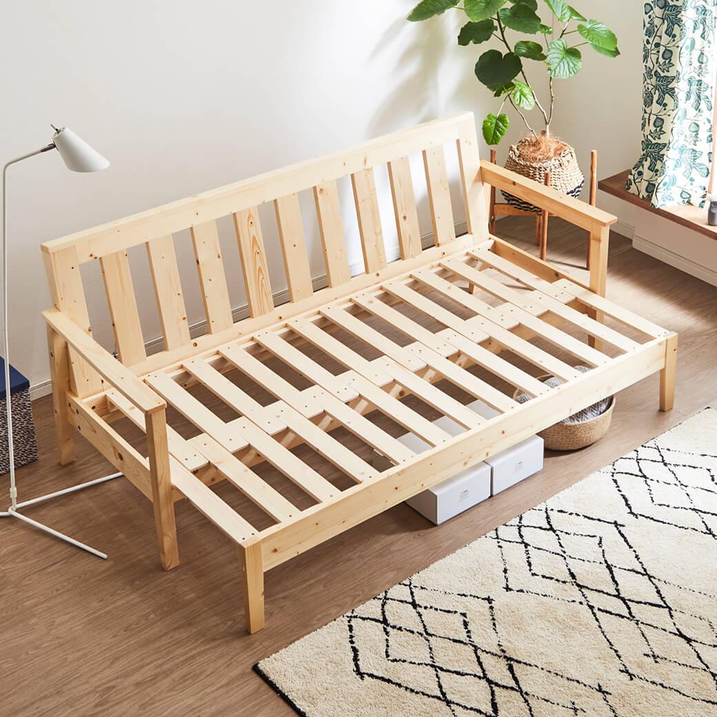 北欧天然木 伸長式ソファベッド ショートサイズ