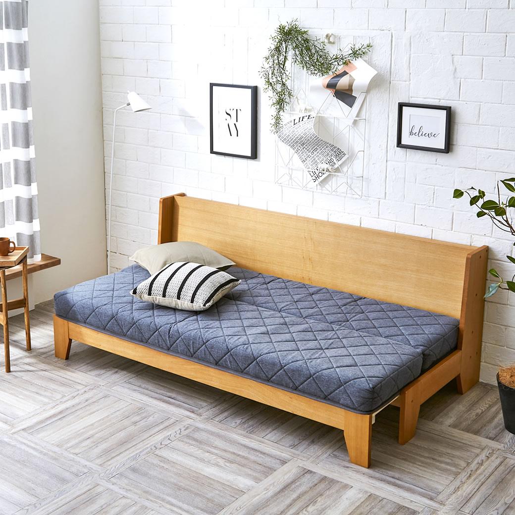 タモ突板伸長式ソファベッド 専用マットレス付