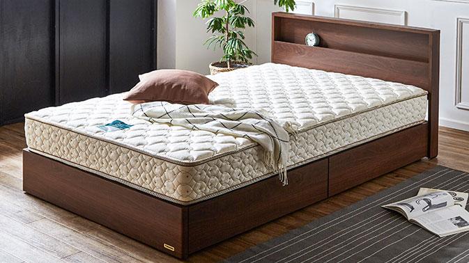 棚・収納付きベッド マルチラスマットレス付き