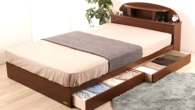 フランスベッド 棚・照明付ベッド マルチラスマットレス付き