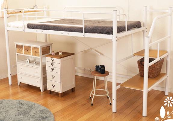 スリムな棚付き階段付きロフトベッド