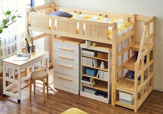 木製階段付きロフトベッド