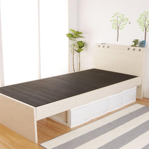 照明が特徴的な天然木製ベッド