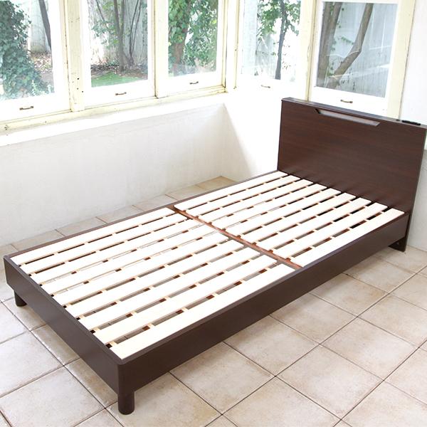 LED照明付き木製すのこベッド