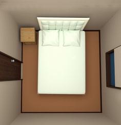 4.5畳の部屋にダブルベッドを配置