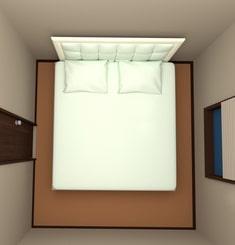 4.5畳の部屋にキングサイズベッドを配置