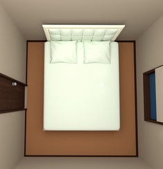 4.5畳の部屋にクイーンサイズベッドを配置