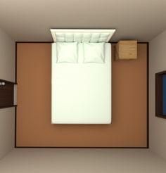 6畳の部屋にダブルベッドを配置