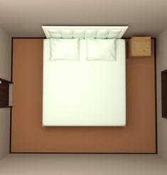 6畳の部屋にキングサイズベッドを配置