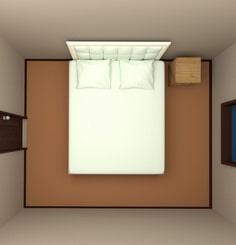 6畳の部屋にクイーンサイズベッドを配置