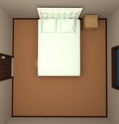 8畳の部屋にダブルベッドを配置