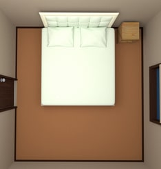 8畳の部屋にキングサイズベッドを配置