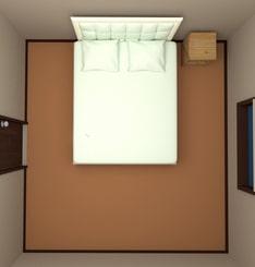 8畳の部屋にクイーンサイズベッドを配置