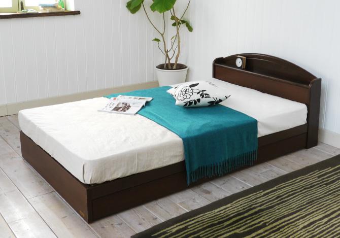 天然木棚・引き出し付ベッド