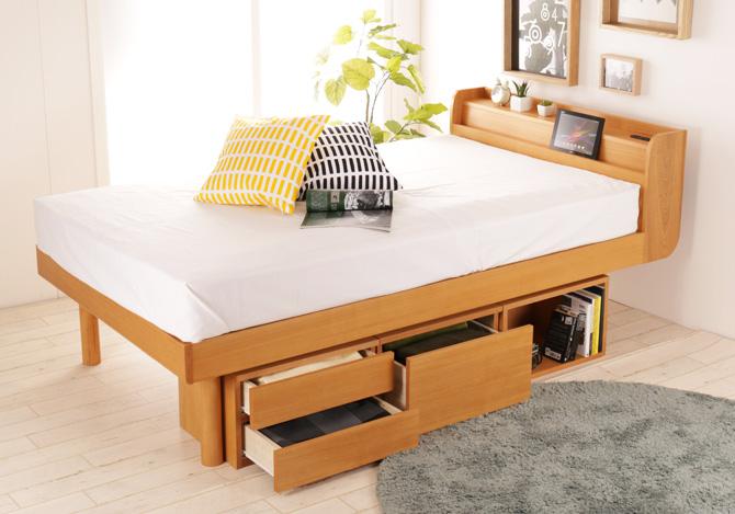 北欧デザイン天然木ベッドマリッカ