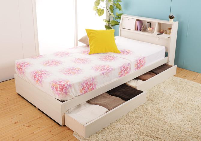 フラップテーブル棚付きベッド