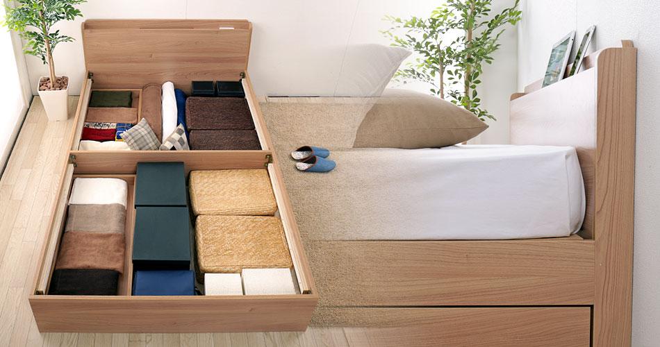 シンプル+コンパクトなベッドで、空間にカフェスタイルなゆとりを。