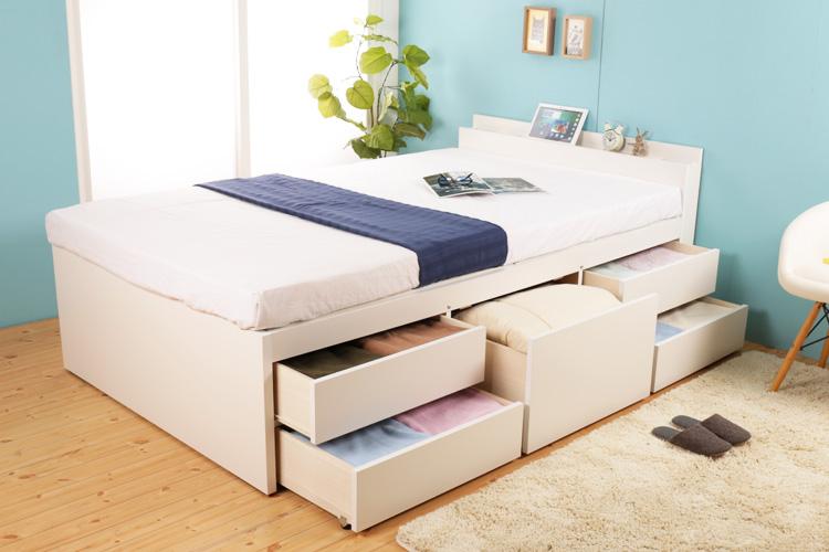 女性に大人気!お部屋が広く清潔に見える白色の収納ベッド特集